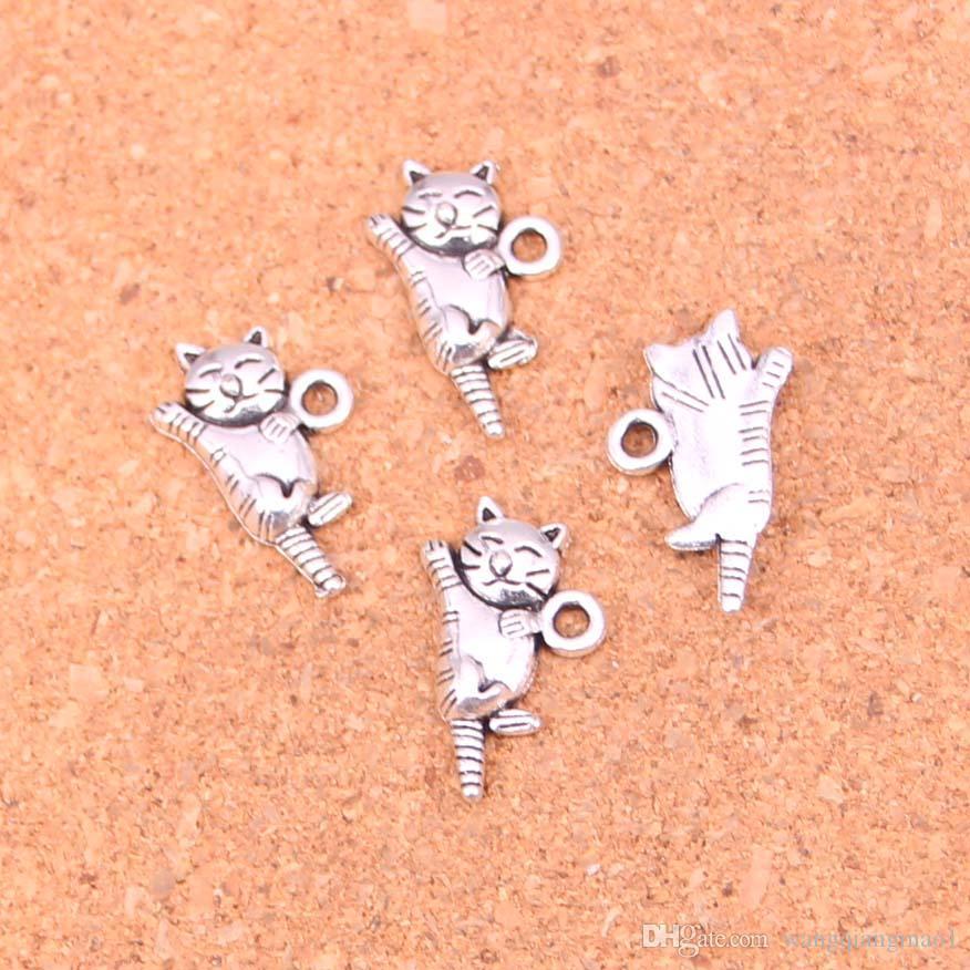 109pcs argento antico placcato gatto pendenti di fascini per il braccialetto europeo creazione di gioielli fai da te fatti a mano 20 * 12mm