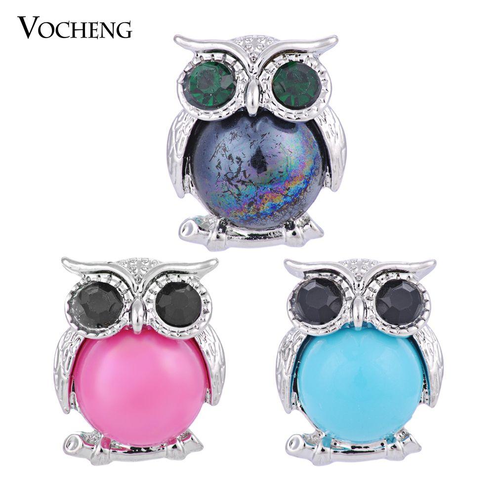 VOCHENG 18mm Noosa Yapış 3 Renkler Sevimli Baykuş Kristal Düğme Değiştirilebilir Popper Takı (Vn-558)