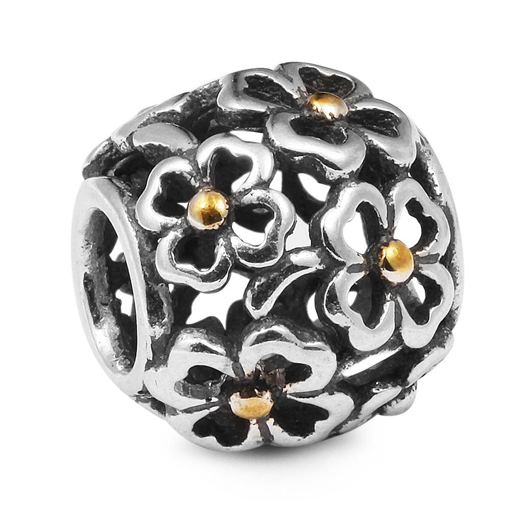 Clover Golden Dot Evening Floral 100% 925 Sterling Silver Beads Fit Pandora Charms Bracciale autentico gioielli moda fai da te