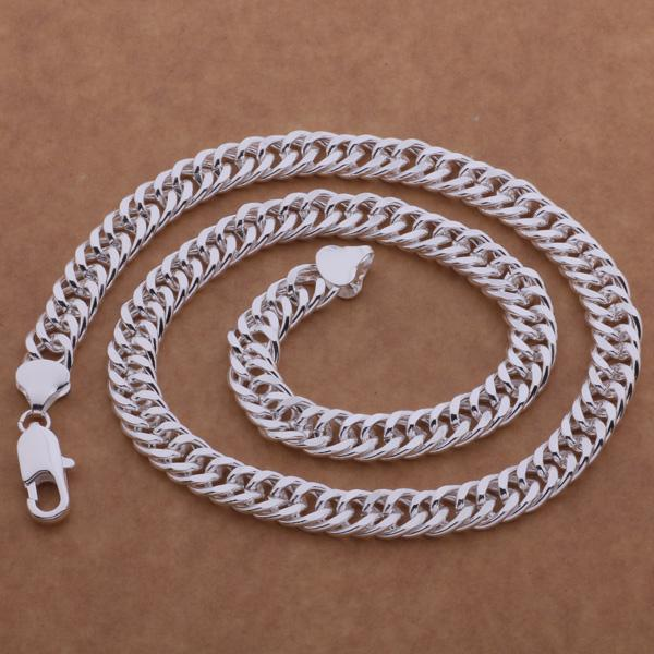 Fashion Men's Jewelry 925 sterling silver plated chain necklace 10MMX20inches Top quality factory price free shipping