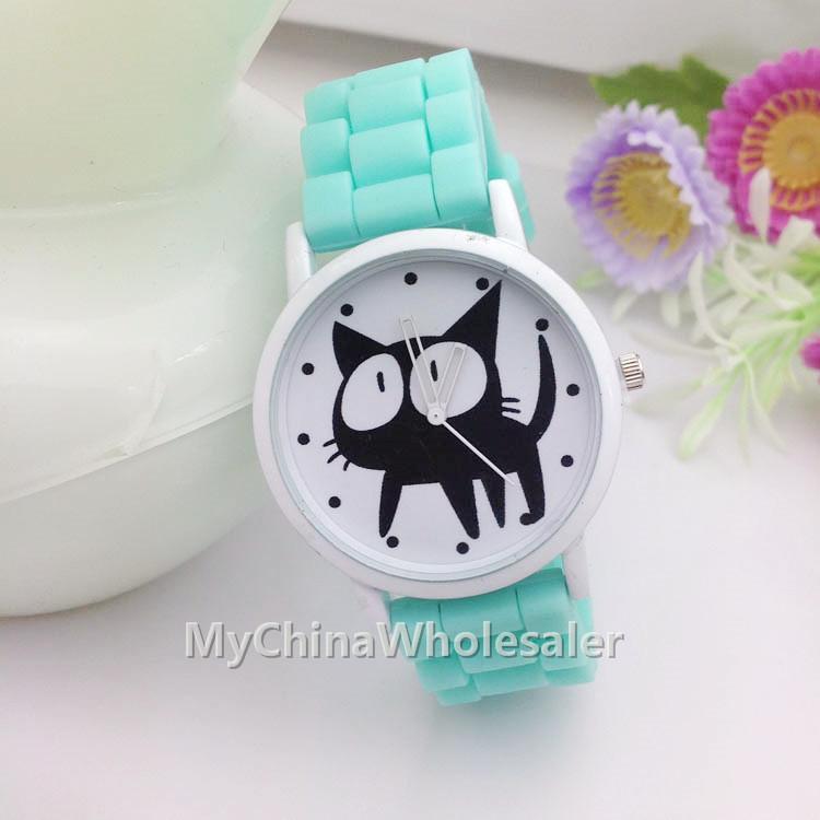 새 그림자 흰색 스타일 제네바 어린이 시계 고무 실리콘 사탕 젤리 패션 소녀 소년 실리콘 쿼츠 시계 고양이