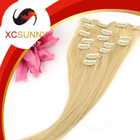 XCSUNNY Clip In Thick Human Hair Extensions 7pcs Indian Remy Clip In Hair Extensions #613 Silky Straight Grade B 70-80g/set