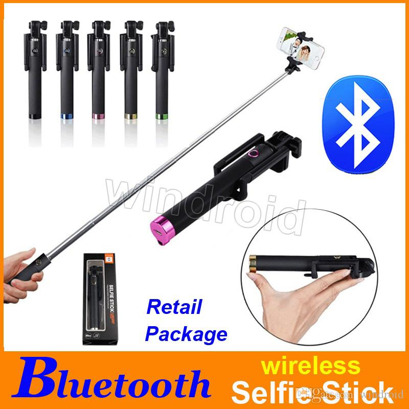 Cheap Mini Folding Bluetooth Selfie Stick Monopod for IOS iphone Android Smart phone wireless Handheld Extendable colorful free DHL 50pcs