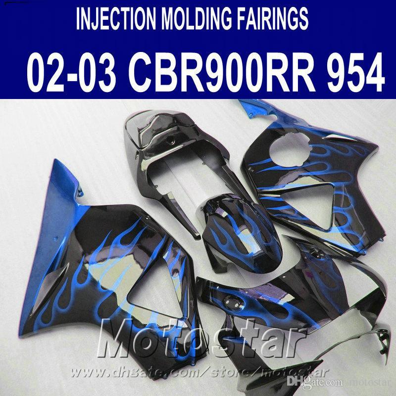 ABS fairing kit for Honda Injection molding cbr900rr 954 2002 2003 CBR 900RR blue flames black high grade fairings CBR954 02 03 YR93