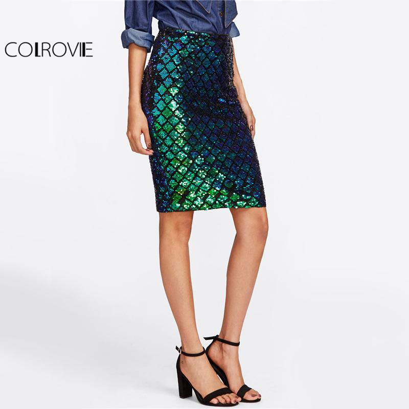 COLROVIE Iridescent Diamond Sequin Gonna Scala di pesci Donne Sexy Midi Club Gonne Gonne 2017 Estate Verde Casuale Gonna A Vita Alta q1113