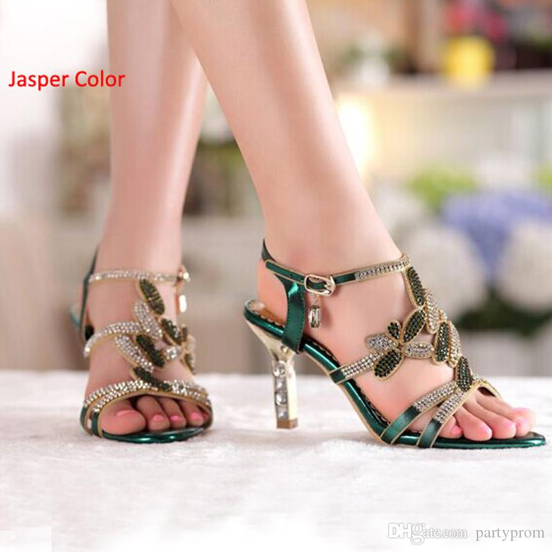 New Sandal Floral Crystal Rhinestones High Heels Prom Evening Party Shoes Dress For Women Lady Bridal Wedding Shoes