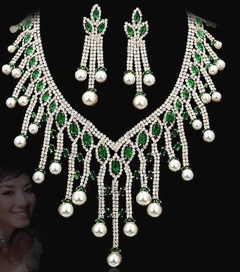 more color diamond pearl drop wedding bride set necklace earings (8.5*2.5cm) women's necklace (32+6cm) (400-cn)