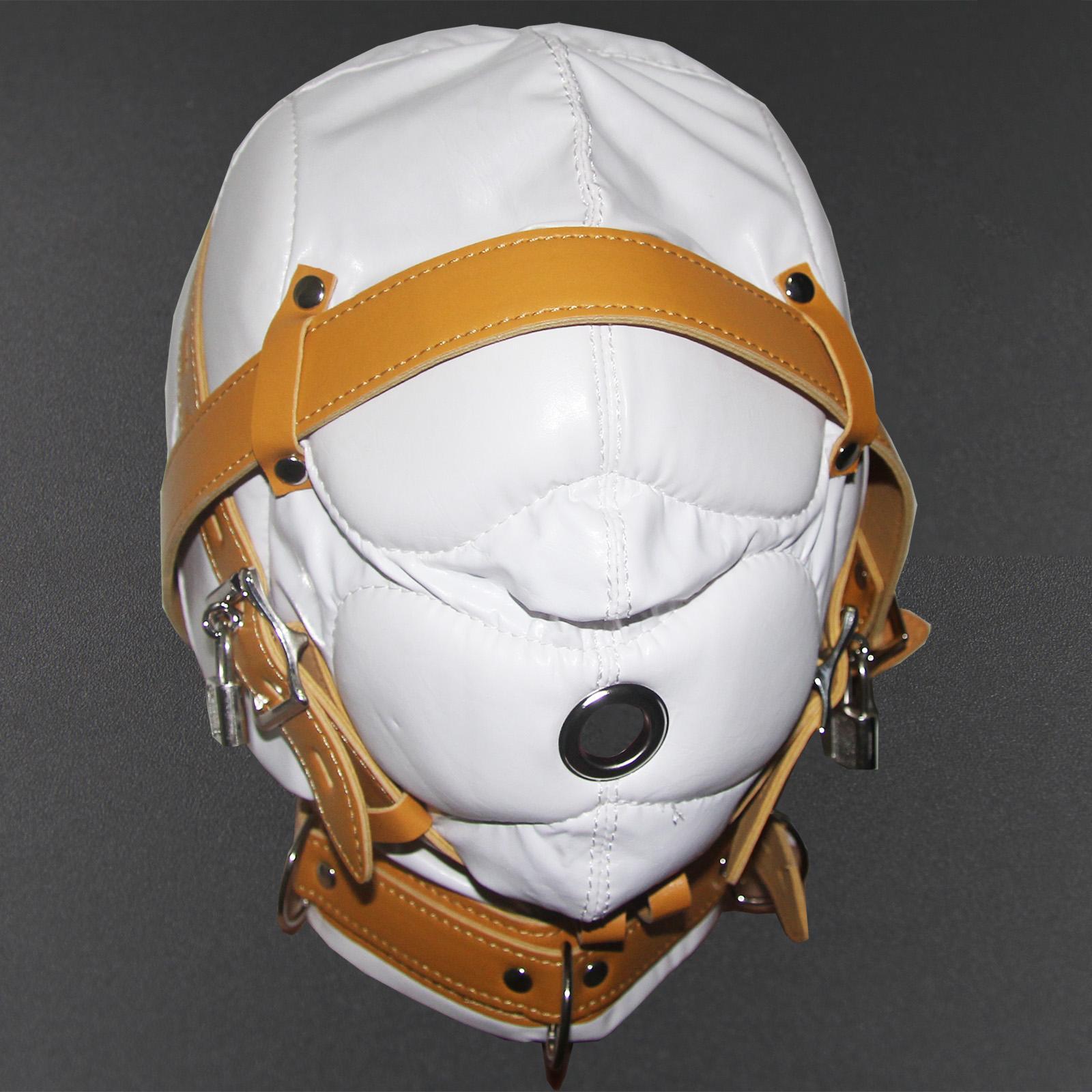 Insgesamt Sensorische Deprivation Hood-Maske-Qualitäts-PVC-Leder Slave Kopfharness Restraint