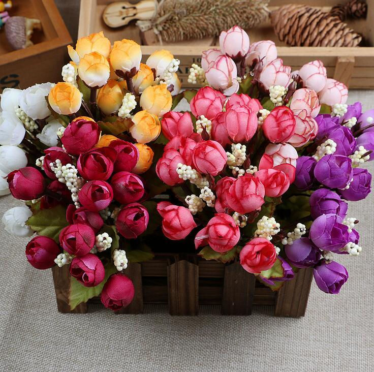 Christmas Supply 15 Mini Rose Artificial Flowers 7 Colors Selection Rosebuds Star Party Decoration Wreaths Silk Bud Factory Direct ER01