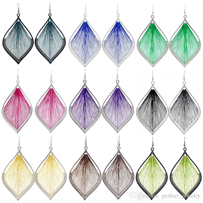 Thread Earrings Leaf 37 Colors Wholesale Lots Hook Cute Charm Dangle Handcraft Women Girl Eardrop ( Blue Purple Green Gold Silver )(JT017)