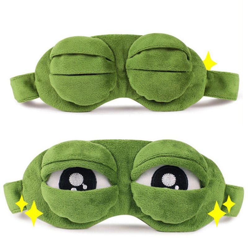 Rana triste Máscara de sueño 3D Anime Cartoon Máscaras de felpa para los ojos Disfraces de cosplay divertidos Accesorios Regalo de la novedad Máscara de ojos para dormir Cuidado de los ojos