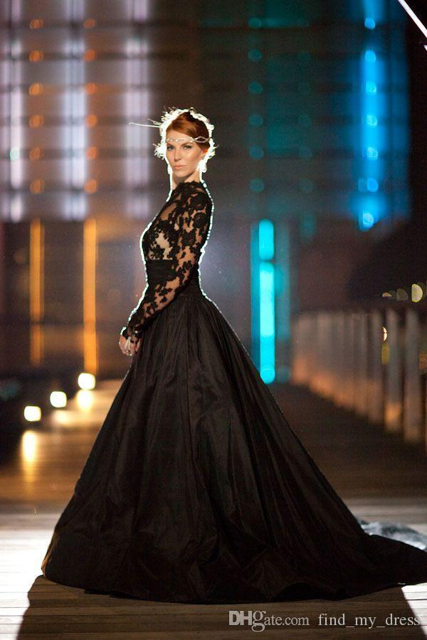 Discount New Vintage Gothic Style Black Wedding Dresses Long Sleeve High Neck Lace Tulle Taffeta A Line Sweep Train Bridal Gowns Custom Made W734
