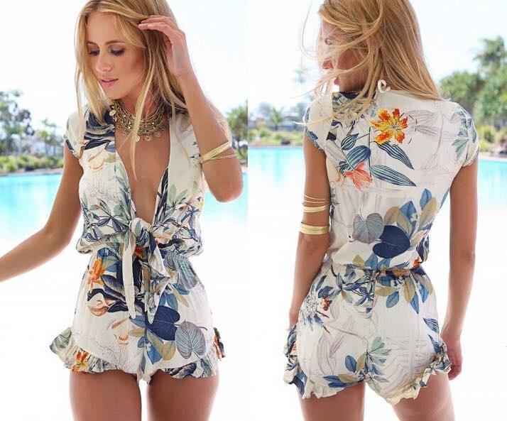 Women Ladies Summer Beach Floral Print Jumpsuit Clubwear Bodycon Playsuit Romper