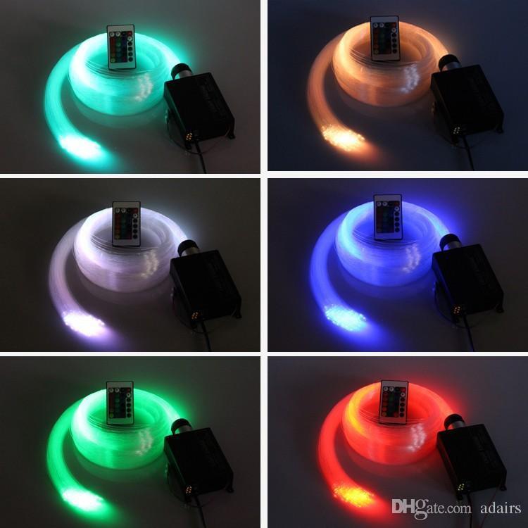 RGB LED الألياف البصرية ضوء السقف ستار كيت 300pcs 2M 0.75mm الألياف البصرية + 16W LED RGB ضوء المحرك + 24Key IR عن بعد
