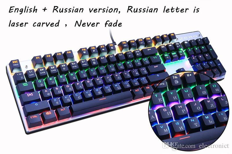 Axis Body : Red Switch, Color : Black Gaming Keyboard Mechanical Gaming Keyboard LED Backlight USB Wired 87 Key English//Russian Keyboard for Computer Gamer Keyboard