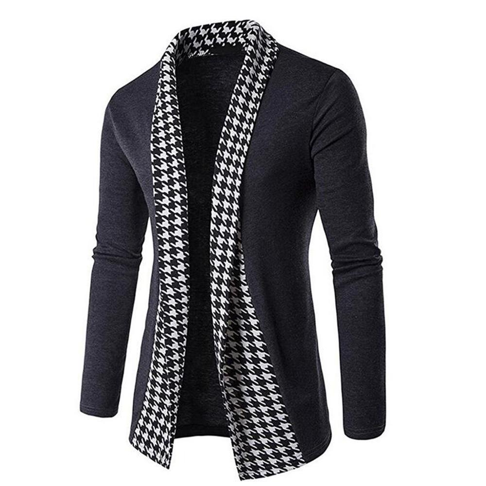 Neue Herren Strickjacke Slim Fit Langarm Revers Hahnentrittmuster Frontoffen Schal Tops Outwear