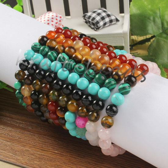 Wholesale 10Pcs Charm Natural Mixed Different Stone Round Shape Beads Chakra Healing Point Beaded Bracelets Jewelry Gift 8mm