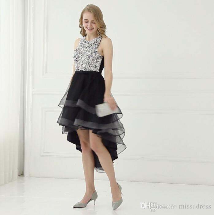Silver Sequin Black High Low Evening