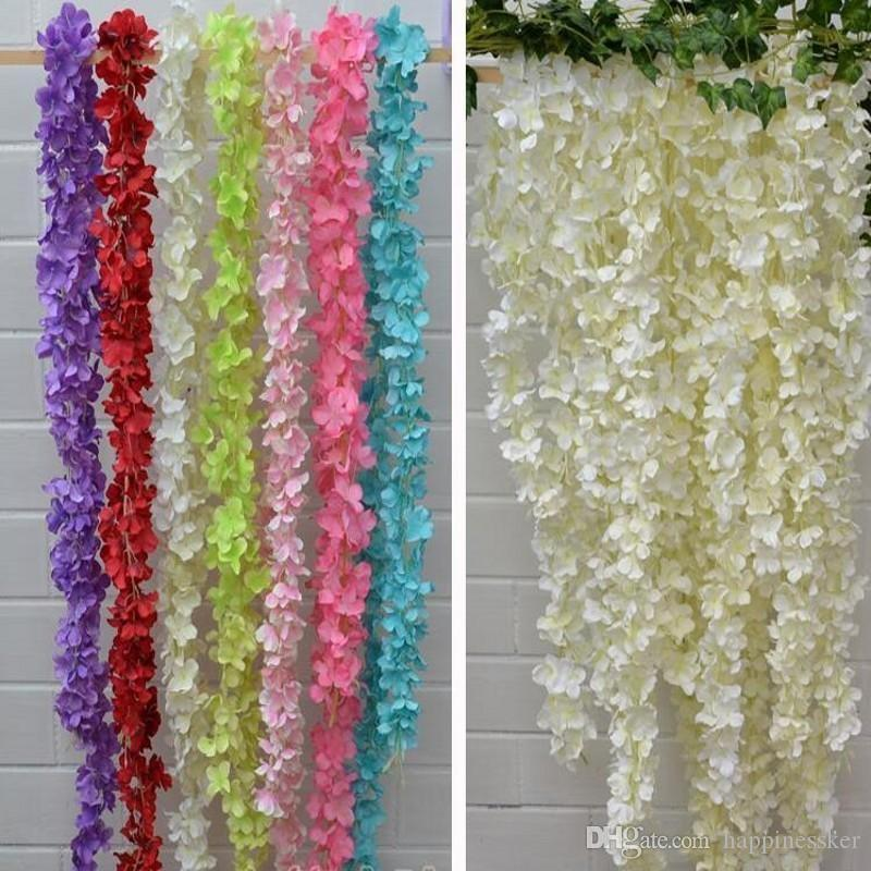 Artificial Hydrangea Wisteria Flower 10colors DIY Simulation Wedding Arch Door Home Wall Hanging Garland For Wedding Garden Decoration