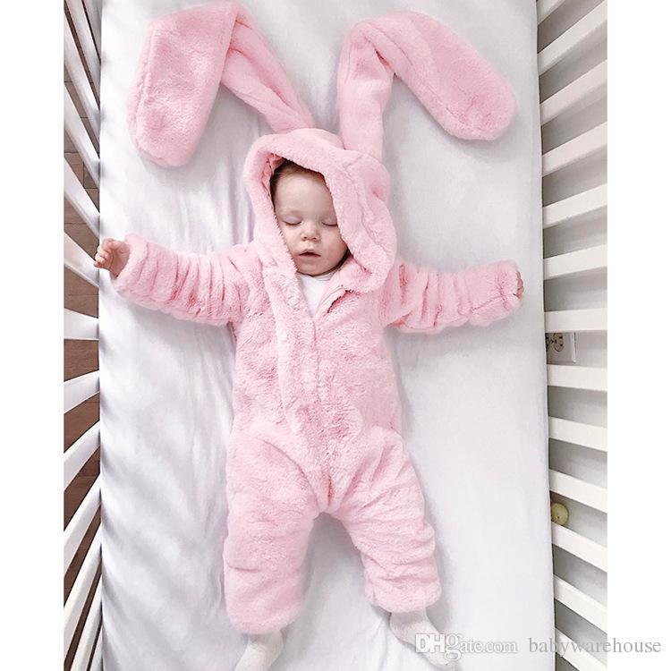 Baby Girls Jumpsuit Winter Warm Light Pink Romper Big Rabbit Ear Cute Velvet Hooded Romper Kids Clothing Soft Infant Newborn Clothes 0-3Y