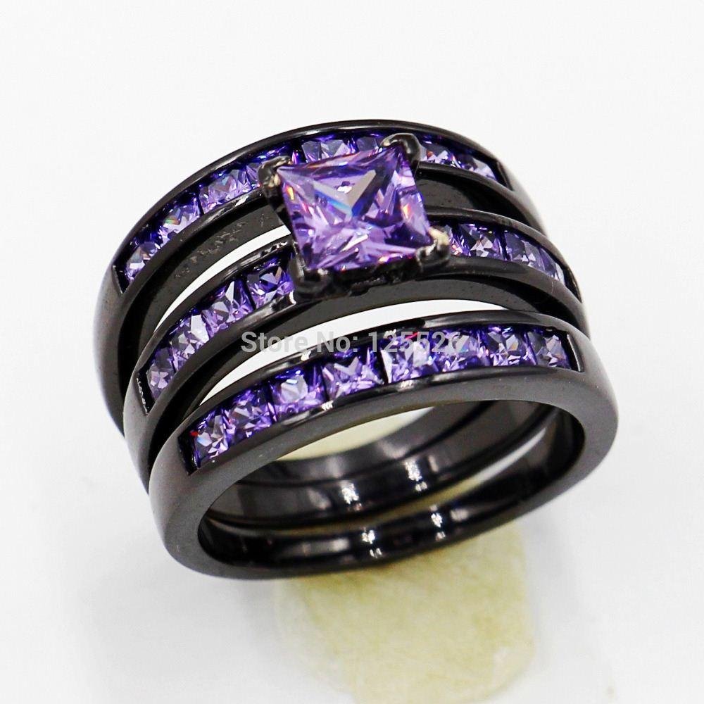 005 Victoria Wieck Dazzling lady Engagement Amethyst Simulated Diamond 10KT Black Gold Filled 2 Wedding band Ring Sets Sz 5-11 Gift