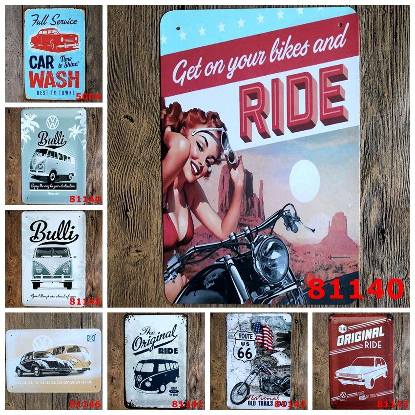 Vintage 20 * 30 cm motocicleta rider auto clássico Tin Sign Coffee Shop Bar Restaurante Arte Da Parede decoração Bar Pinturas de Metal