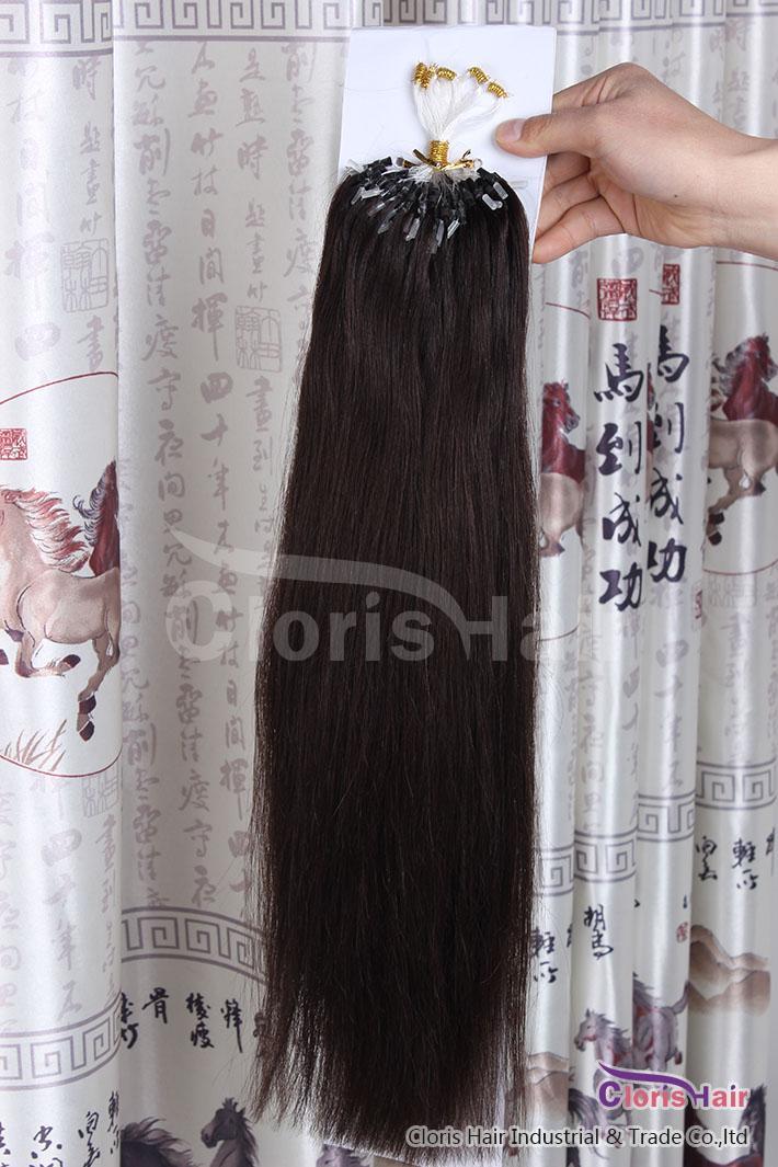 """16-22"""" # 2 Darkest Brown Silikon-Mikroring / Loops Remy Menschenhaar-Verlängerungs-Mikroverbindungs / Beads-indisches Haar seidige gerade 50g 0,5 g / s"""