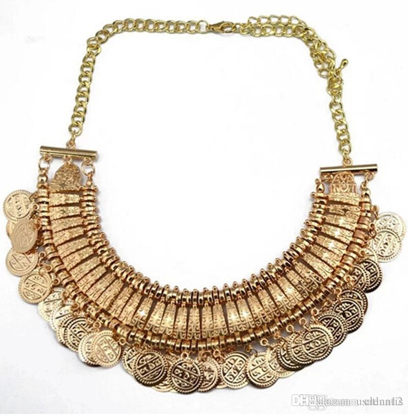 LatestTurkish Jewelry for women fashion vintage Boho Coin chunky choker Necklaces antique Silver and gold statement necklace BY DHL 160435