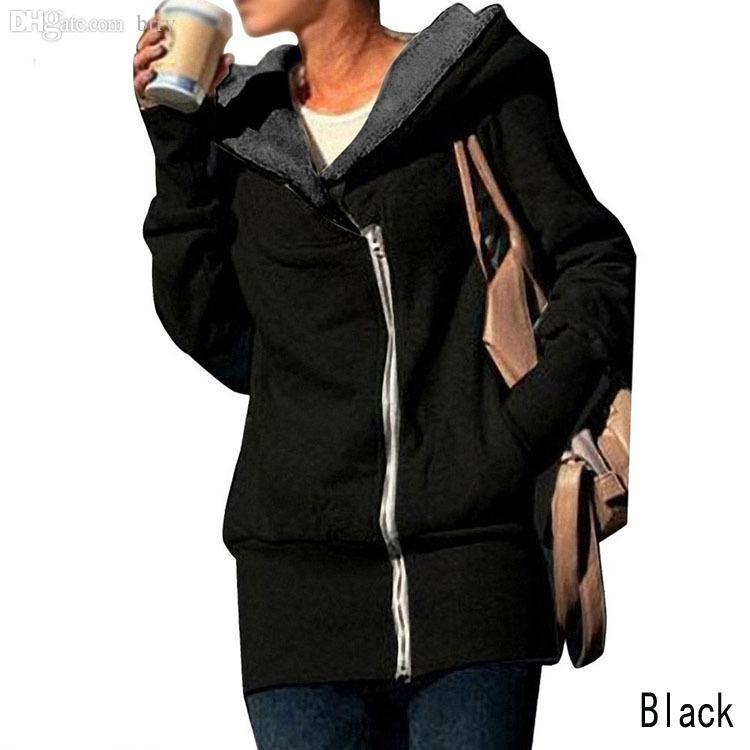Women's Jackets Wholesale- Sale Fashion Womens Autumn Winter Long Zip Tops Hoodie Coat Jacket Outerwear Women Drop GWF-684820