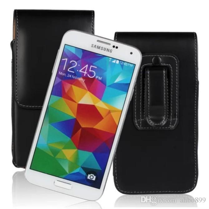 Partihandel Högkvalitativ vertikal bälte Klipp läderpåse Skyddskåpa för Samsung Galaxy S5 Mobiltelefon Shell Gratis frakt