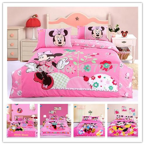 Girls Pink Princess Mickey Minnie Mouse Bedding Set Bed Clothes Twin Size  Include Duvet Cover Flat Sheet Pillowcase Queen Size Comforters Denim ...
