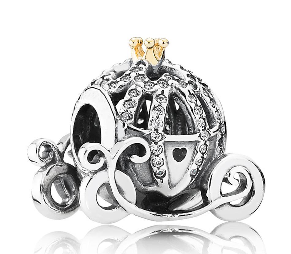 Pandora takılar kolye kadınlar için Cinderella kabak Silver Charm 14K kübik zirkon otantik 925 ALE Gümüş boncuk Bilezik