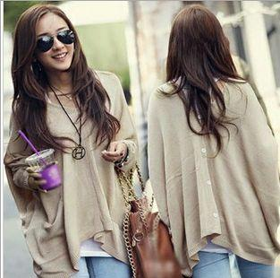 Women's Loose Sweater Poncho Pullover V Neck Knitwear Batwing Long Sleeve Knit Cape Button Back Cardigan Sweaters Tops