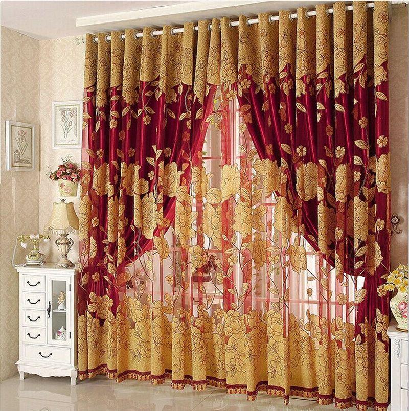 새로운 도착 커튼 럭셔리 거실을위한 골동품 Tulle + Blackout Curtain Window 트리트먼트 / 드레이프 브라운 / 레드 Freeshipping