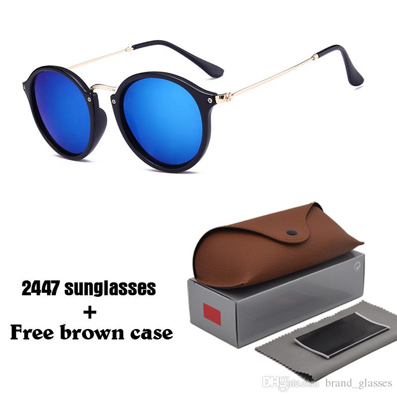 9 Colors To Choose Classic Round Sunglasses Men Women Brand Designer Eyewear Glasses Mirrored Sun glasses uv400 Goggle with cases and box
