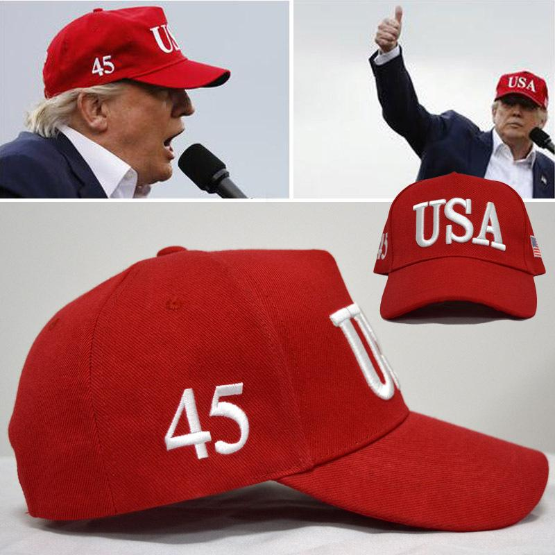 Trump Make America Great Again 45th President Red Embroidered Hat Cap