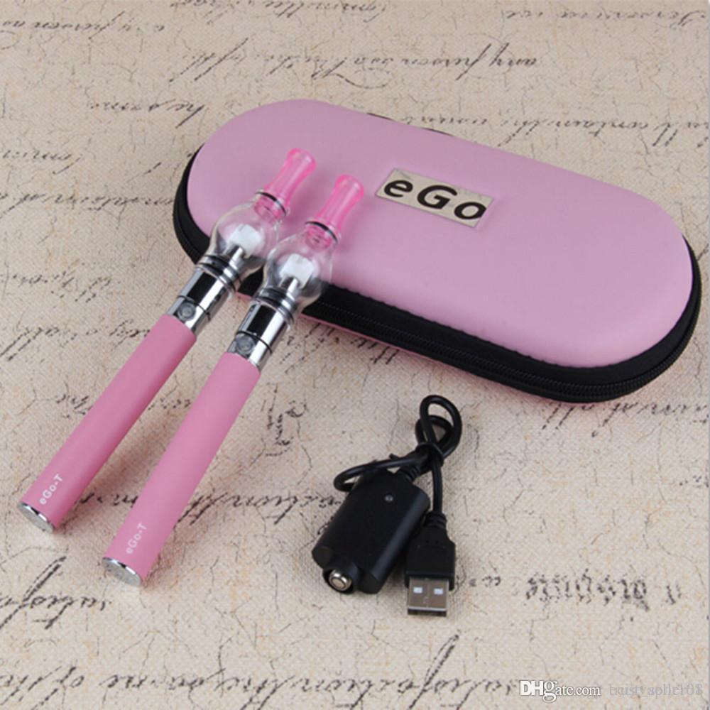 Electronic Cigarette eGo-T Double Starter Kit Glass Globe Vaporizer Wax dry Herb Atomizer tanks vape Ecigarettes double Zipper case kit