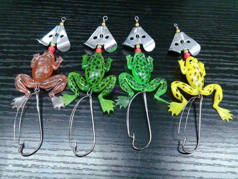 "Soft Rubber Frog Fishing Crank Bait Tackle Hooks 9cm 3.54"" 6.2g Frog Lure Bass Pesca Fishing Bait"