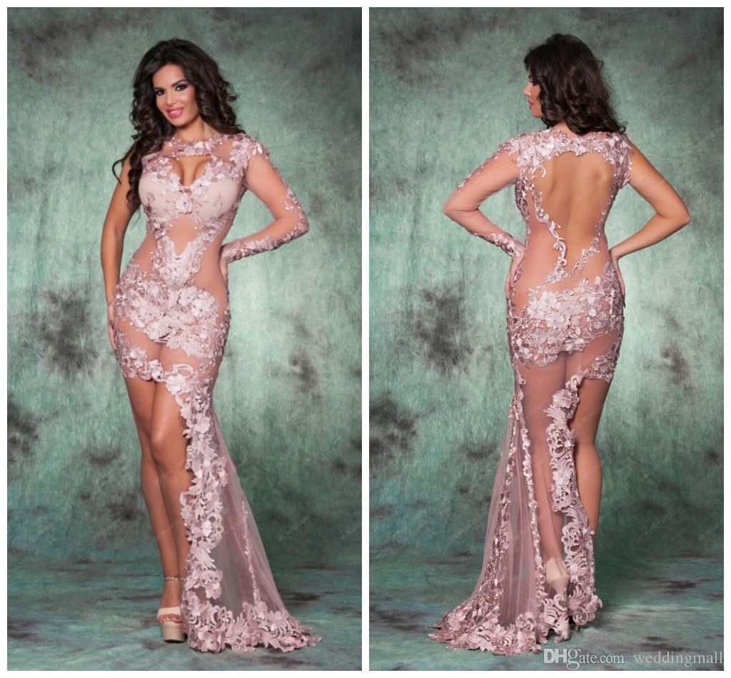 Mermaid Sheer Neck Lace See Through Evening Dresses Floor Length ...