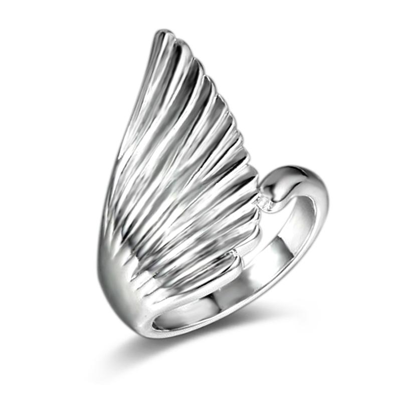 Free Shipping New 925 Sterling Silver fashion jewelry Angel Wings with White Diamond With Pave zircon ring hot sell girl gift 1743