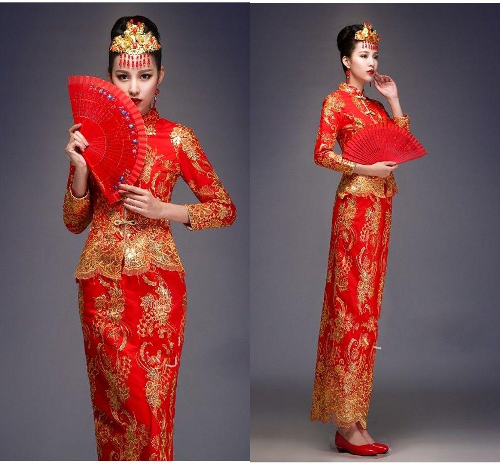 Großhandel Auf Lager Zweiteiler Vorzügliche Retro Phoenix Goldene  Gesticktes Langes Hülsen Traditionelle Chinesische Hochzeitskleid Mantel  Braut