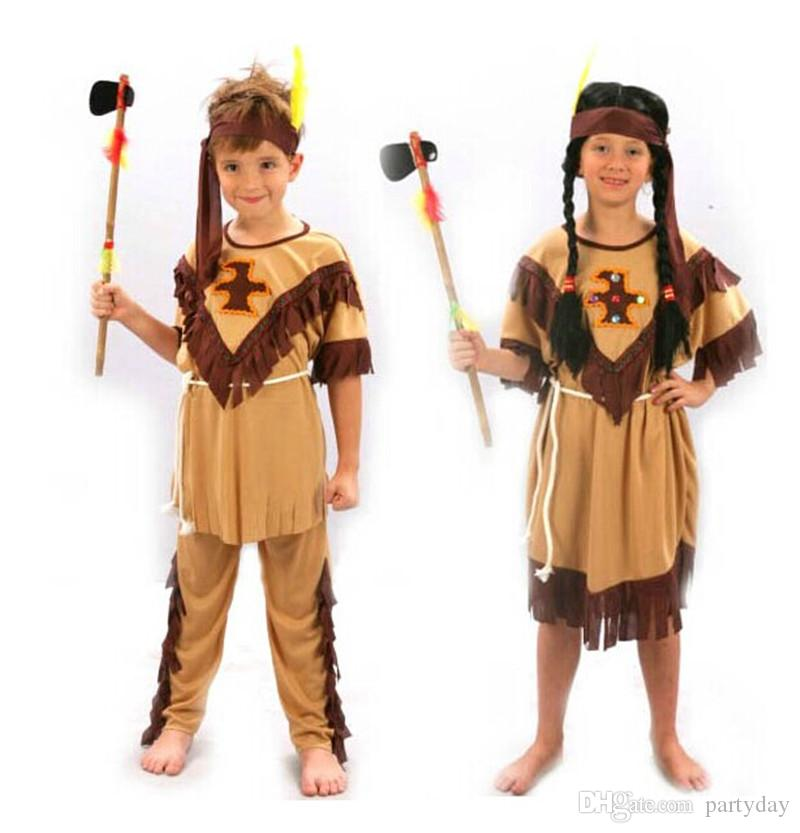 Indian Girls Children Boy Native American Child Halloween Costume Cosplay Fancy Dress Performance Clothes Halloween Party ...  sc 1 st  DHgate.com & Indian Girls Children Boy Native American Child Halloween Costume ...
