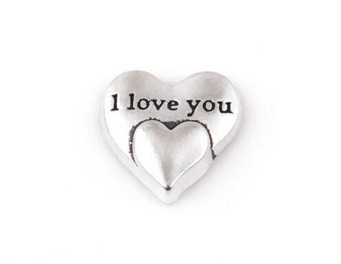 20 pçs / lote cor de prata eu te amo palavra carta charme, diy coração flutuante encantos medalhão fit para vidro memória medalhão