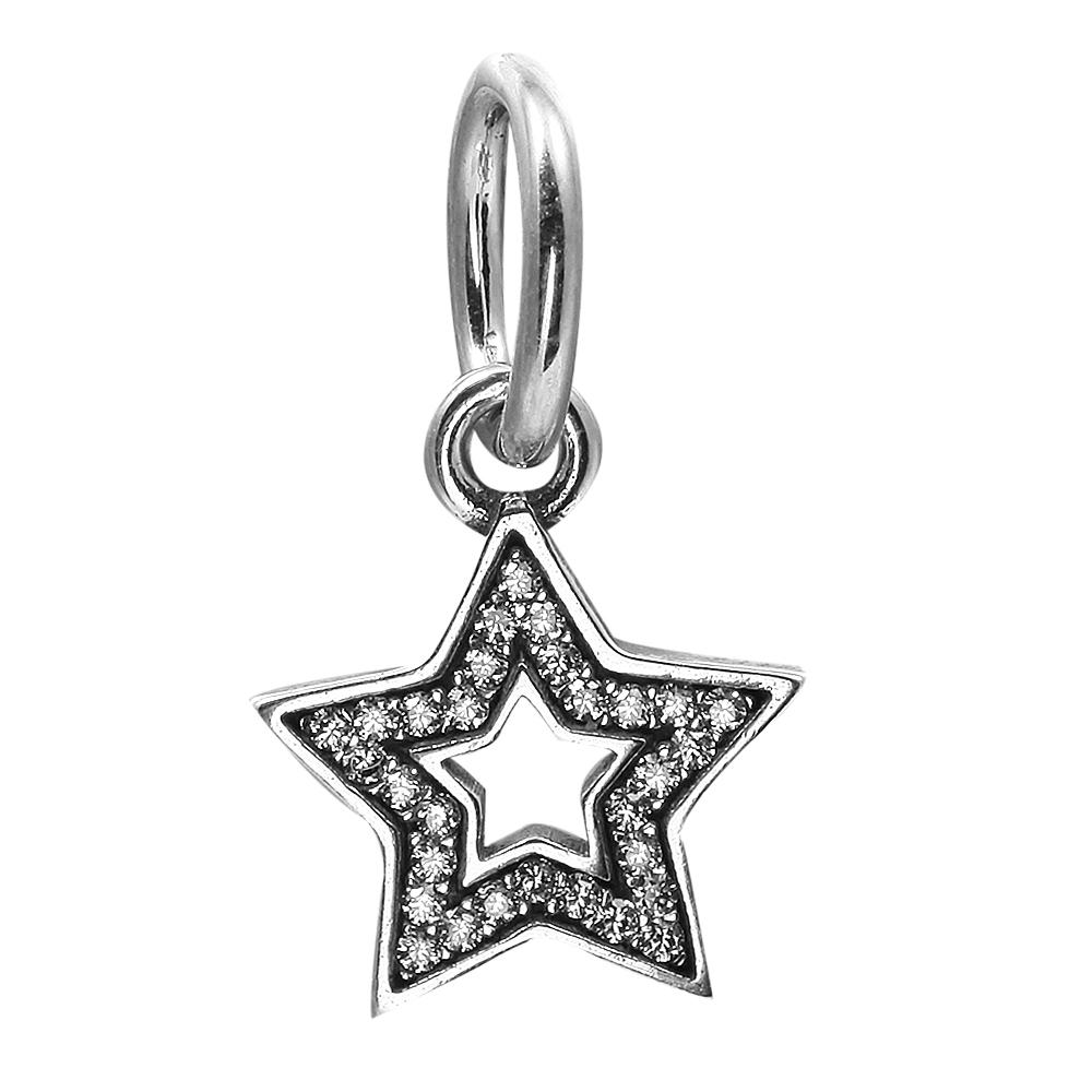 Dangle Star Symbol of Aspiration with Clear CZ 100% 925 Sterling Silver Beads Fit Pandora Charms Bracelet Authentic DIY Fashion Jewelry