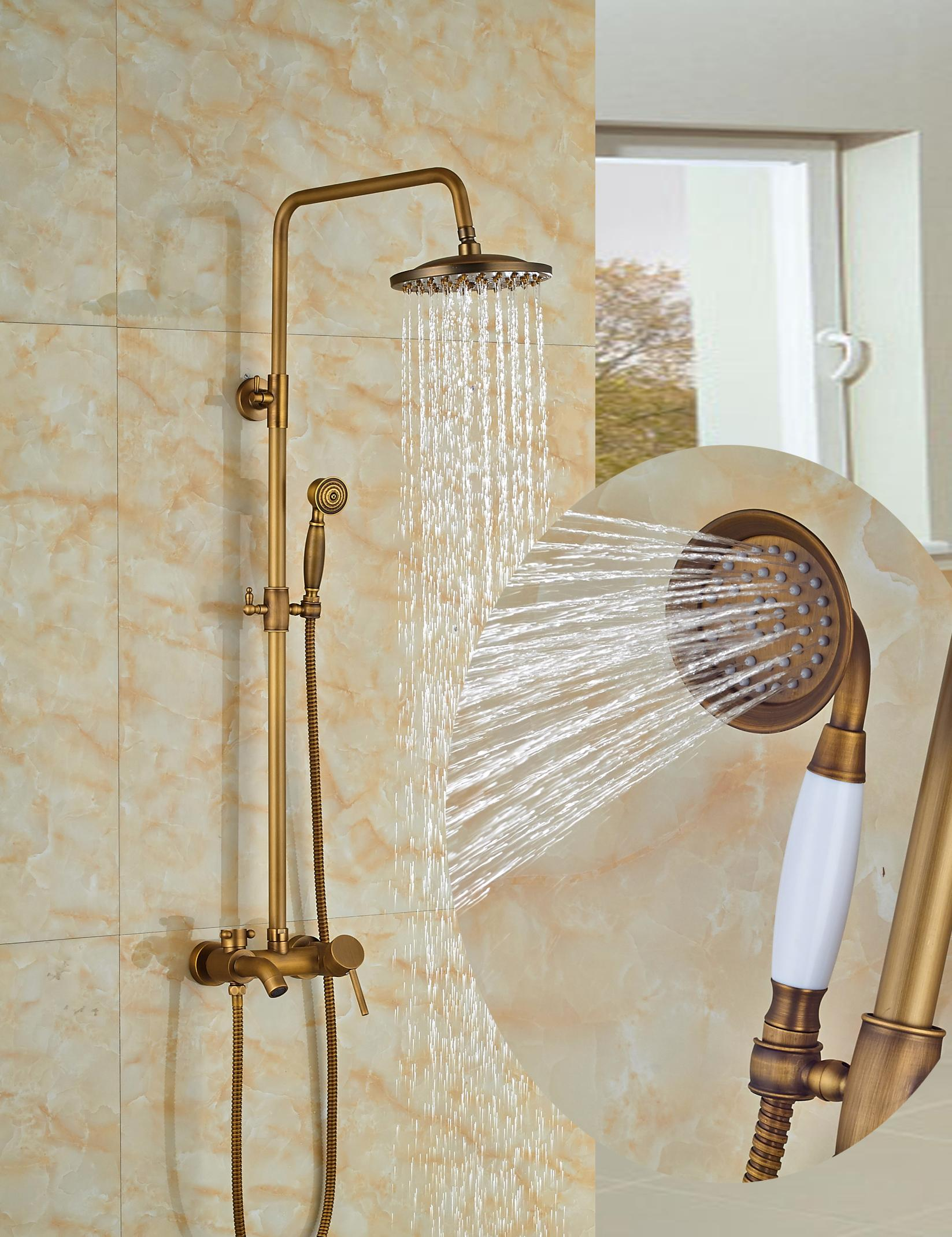 "Wholesale And Retail Antique Brass Tub Spout Valve 8"" Round Rain Shower Faucet w/ Hand Held Shower Mixer Tap Wall Mounted"