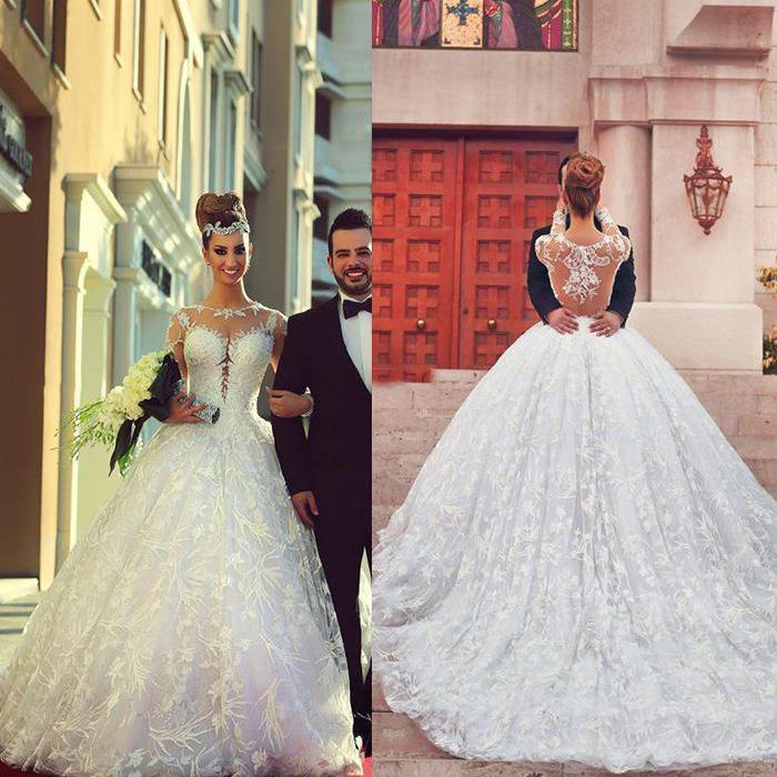 Luxus Individuelle 2015 Ballkleid-Spitze Brautkleider Langarm Sheer Zurück Scoop Neck Perlen Gericht Zug Brautkleider Heiße verkaufende neue Ankunft