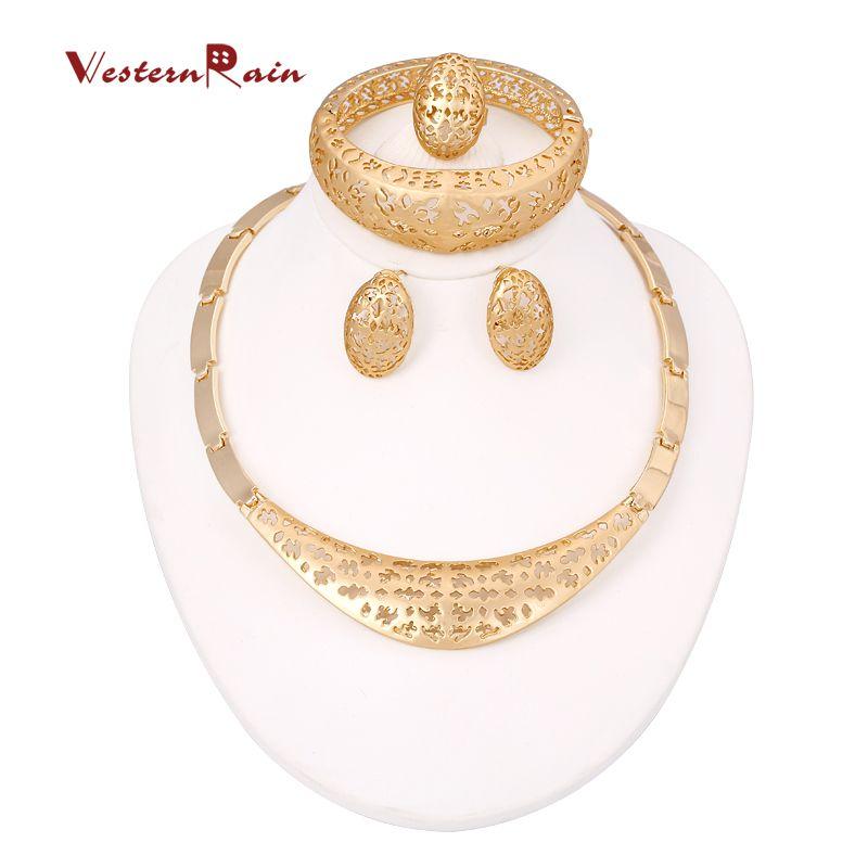 Dubai Gold Jewelry 18k Gold Plated Jewelry Set Beautiful Necklace ...