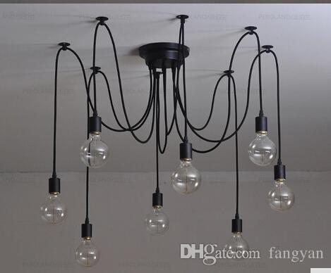 8 braço edison lâmpada Pingente Lustre Moderno Loft Bar Restaurante Quartos Vintage E27 Art Pendant industrial lampAC 110-240V (sem lâmpada)