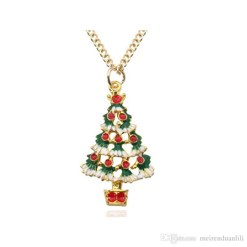 Pendenti di fascino dell'albero di NataleNecklaces Collane del choker della catena di colore dell'oro di modo per il trasporto di goccia del regalo di Natale dei bambini dei bambini