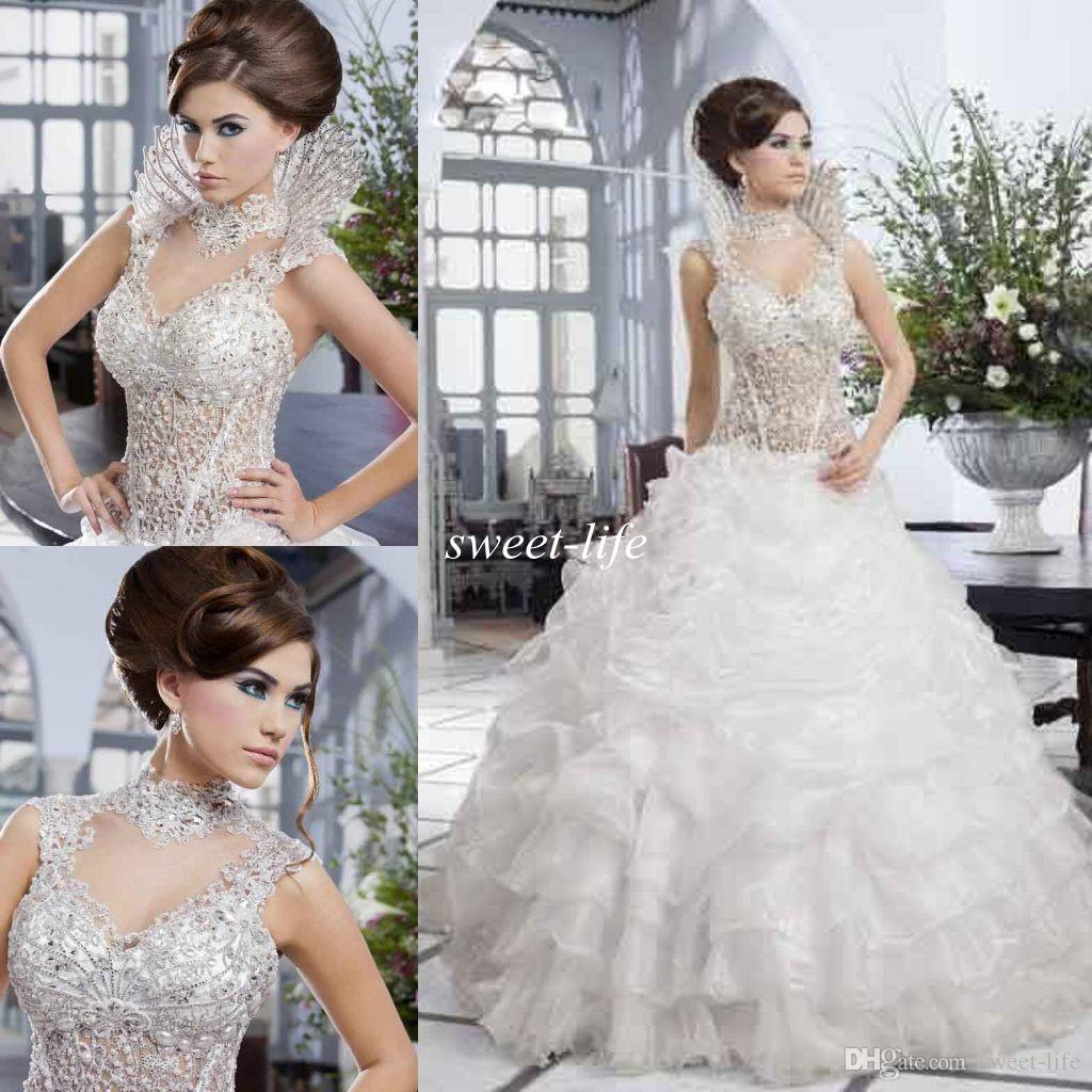 Salon Mona 2020 Luxury Wedding Dress Beaded Corset Ruffle Organza Skirt White Ball Gown Beautiful Bridal See Through Gowns Formal Party Wear